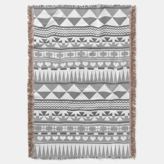 Cute Retro Greyscale Aztec Pattern Print Throw