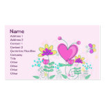 Cute Retro Hearts Flowers Butterflies Double-Sided Standard Business Cards (Pack Of 100)