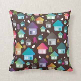 Cute retro home house city pattern pillow case