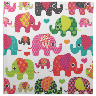 Cute retro india elephant pattern cloth napkin