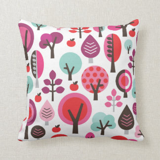 Cute retro leaf tree red pattern pillow case