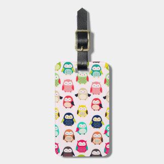 Cute Retro Litte Owls Bag Tag