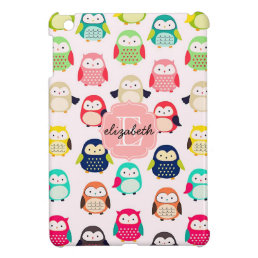 Cute Retro Litte Owls Monogrammed Case For The iPad Mini