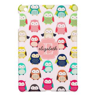 Cute Retro Litte Owls Monogrammed Case For The iPad Mini
