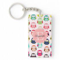 Cute Retro Litte Owls Monogrammed Keychain
