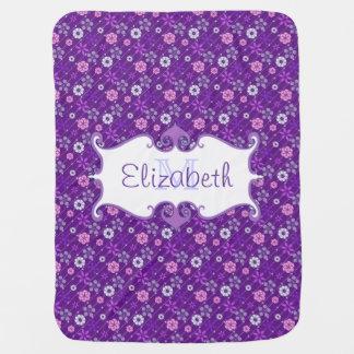 Cute retro look floral pattern monogram receiving blanket