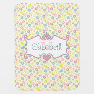 Cute retro look floral pattern monogram swaddle blankets