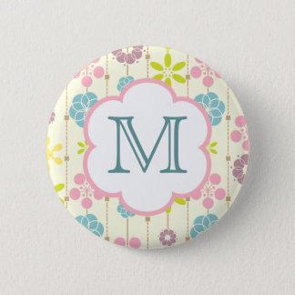 Cute retro look geometric floral pattern monogram pinback button