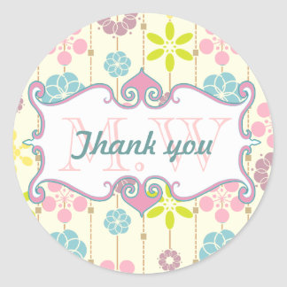 Cute retro look geometric floral pattern Thank you Classic Round Sticker