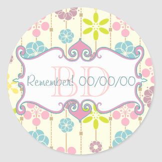 Cute retro look geometric floral pattern with date classic round sticker