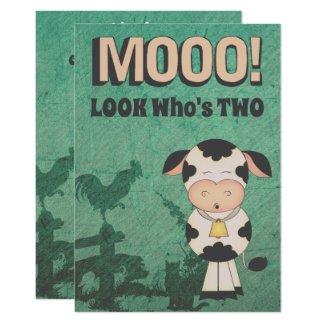 Cute Retro MOOO! LOOK Who's Two Cow Farm Birthday Invitation