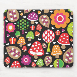 Cute retro mushroom flower leaf mouse pad
