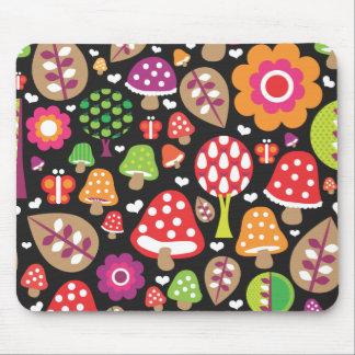 Cute retro mushroom flower leaf mouse pad
