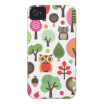 Cute retro owl and trees pattern iphone case iPhone 4 Case-Mate case