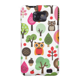 Cute retro owl and trees pattern samsung case galaxy s2 cases