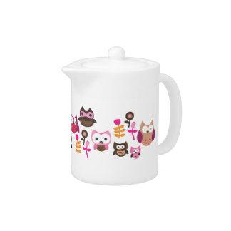 Cute retro owl bird flower teapot pattern