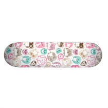 Cute retro owl bird pattern design skateboard deck