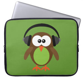 Cute Retro Owl DJ with Headphones Laptop Computer Sleeve