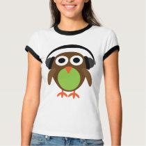 Cute Retro Owl DJ With Headphones T-Shirt