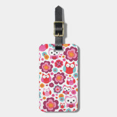 Cute Retro Owl Flower Bird Pattern Travel Tag at Zazzle