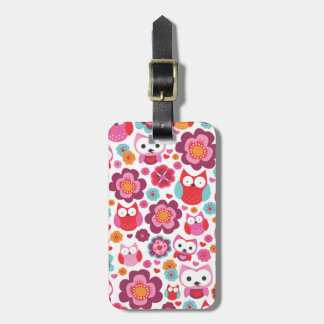 Cute retro owl flower bird pattern travel tag bag tag