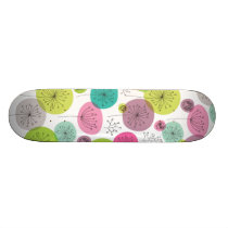 Cute retro owl flower pattern design skateboard deck