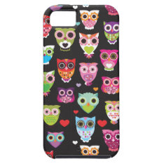 Cute Retro Owl Pattern Illustrated Iphone 5 Case at Zazzle