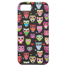 Cute retro owl pattern illustrated iphone case at Zazzle