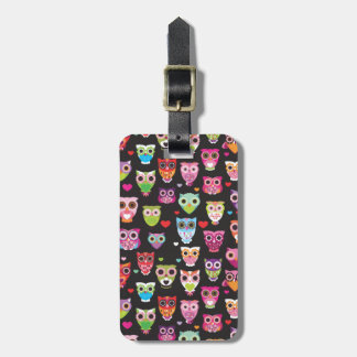 Cute retro owl pattern illustrated luggage case tags for luggage