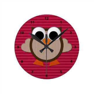 Cute Retro Owl Pink Stripe Clock