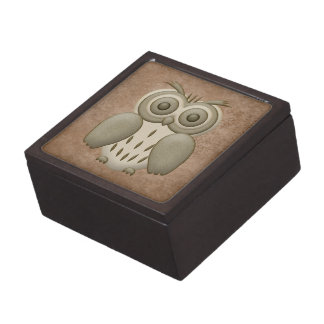 Cute Retro Owl Trinket Box Premium Keepsake Box