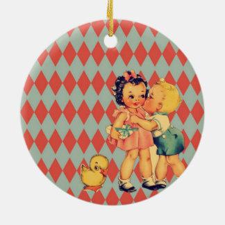 Cute retro pattern vintage kids ceramic ornament