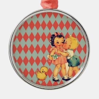 Cute retro pattern vintage kids metal ornament