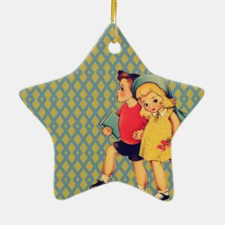 Cute retro pattern vintage school kids ceramic ornament