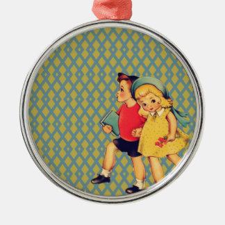 Cute retro pattern vintage school kids metal ornament