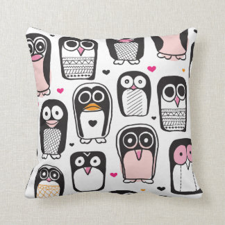 Cute retro Penguin kids pattern pillow home