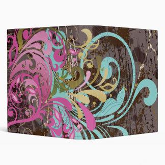 Cute Retro Pink Aqua Floral Vinyl Binders