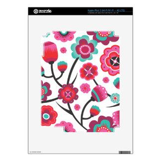 Cute retro pink blue flowers pattern ipad iPad 3 decal