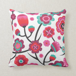 Cute retro pink flower branch pattern pillow case