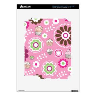 Cute retro pink flower cupcake pattern ipad iPad 3 skins
