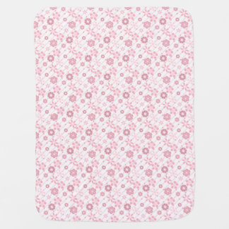 Cute retro pink geometric floral pattern baby blanket