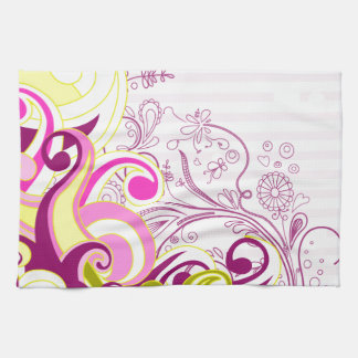 Cute Retro Pink Yellow Burgundy Floral Vector Kitchen Towel