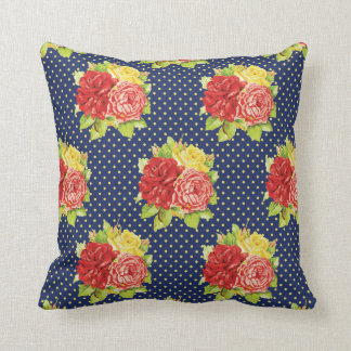 Cute Retro Polka Dots & Flowers Pillow