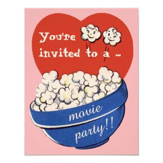 Cute Retro Popcorn and Movie Night Birthday Party Card