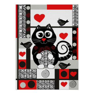 Cute retro poster with cat, birds, hearts and dots