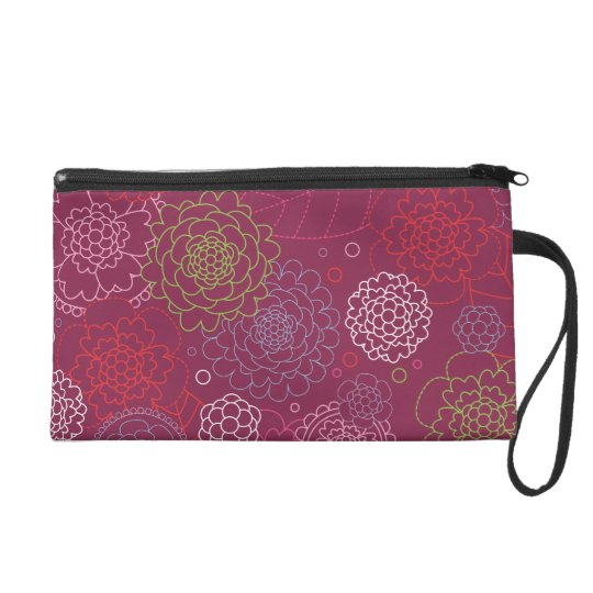 Cute retro purple flower pattern wristlet