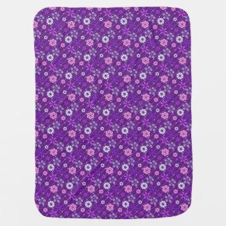 Cute retro purple look geometric floral pattern swaddle blankets