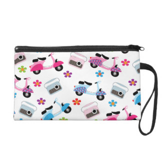 Cute Retro Radios Moped Scooters and Ditsy Flowers Wristlet Purse