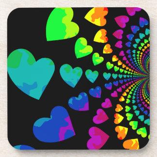 Cute retro rainbow hearts coaster