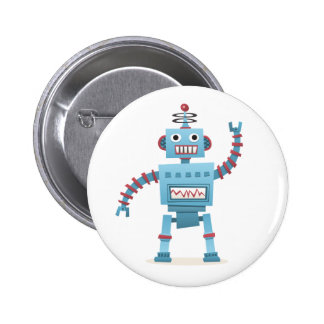 Cute retro robot android kids cartoon pinback button